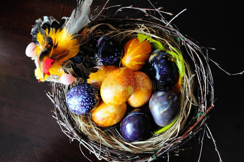 Getting ready for Easter. Easter eggs composition on a table royalty free stock photos