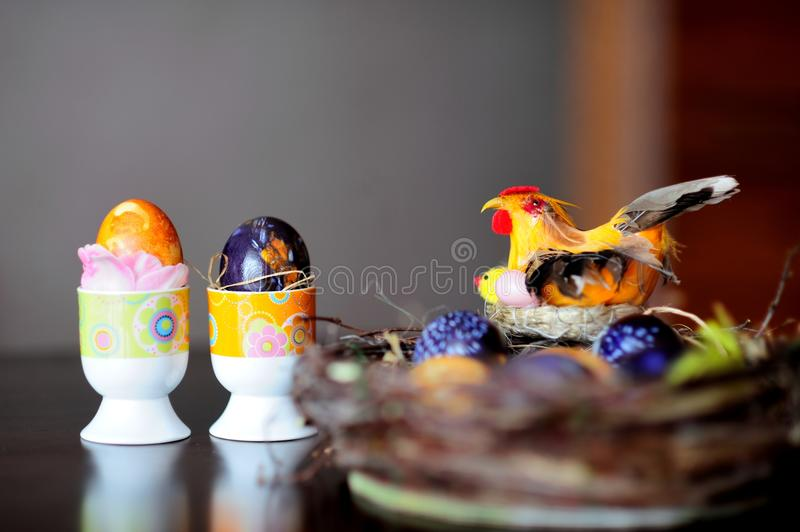 Getting ready for Easter. Easter eggs composition on a table royalty free stock images