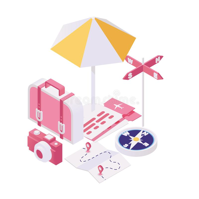 Getting ready for trip isometric illustration. Packing bags for tourist voyage, summertime holiday tour 3d concept royalty free illustration