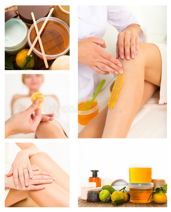 Getting rid of body hair by shugaring. stock photography