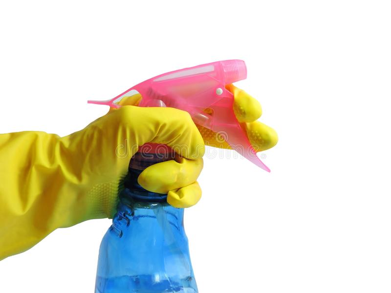 Getting started cleaning. Yellow rubber gloves for cleaning on white background .General or regular cleanup. royalty free stock image