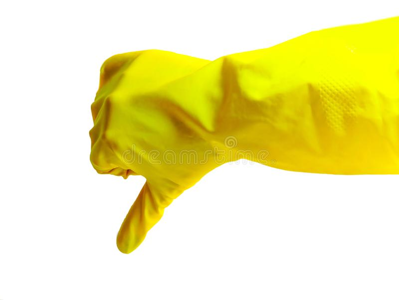 Getting started cleaning. Yellow rubber gloves for cleaning on white background .General or regular cleanup. stock images