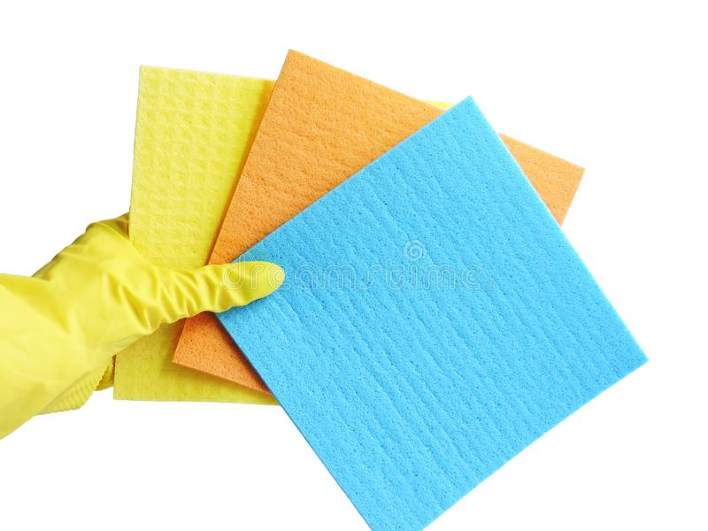 Getting started cleaning. Yellow rubber gloves for cleaning on white background .General or regular cleanup. royalty free stock images