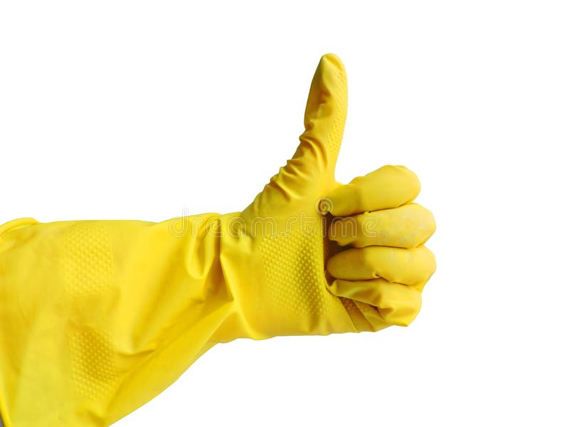 Getting started cleaning. Yellow rubber gloves for cleaning on white background .General or regular cleanup. royalty free stock photos