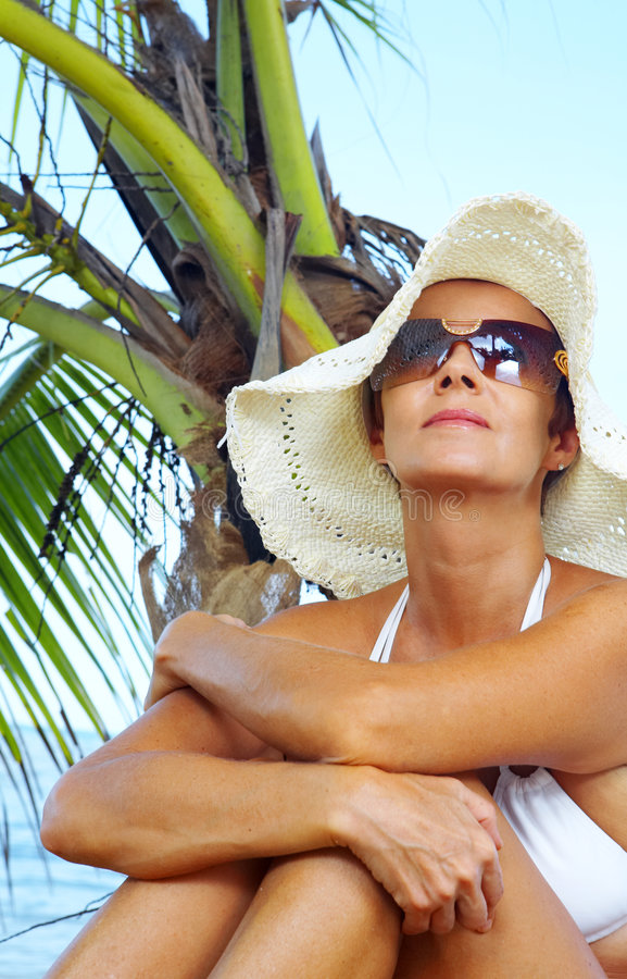 Getting suntan royalty free stock photography