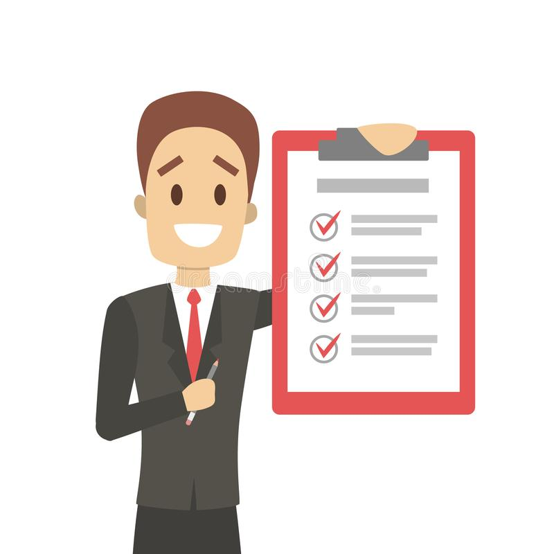 Getting things done. Man with checked list royalty free illustration