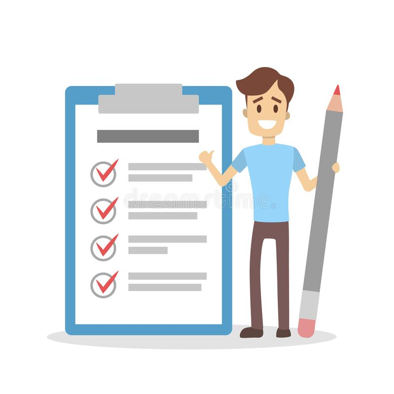 Getting things done. Man with checked list stock illustration