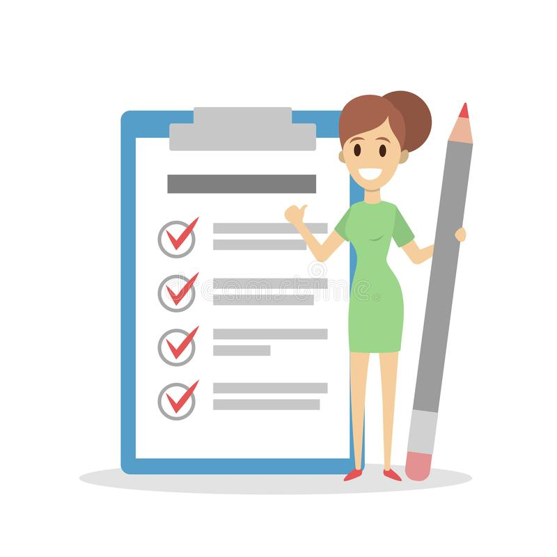 Getting things done. Woman with checked list royalty free illustration