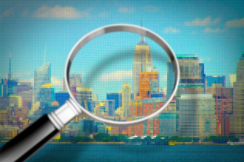 Getting to know Manhattan - Concept image seen through a magnifying glass with pixelation effect - Manhattan waterfront - New York. City USA stock images