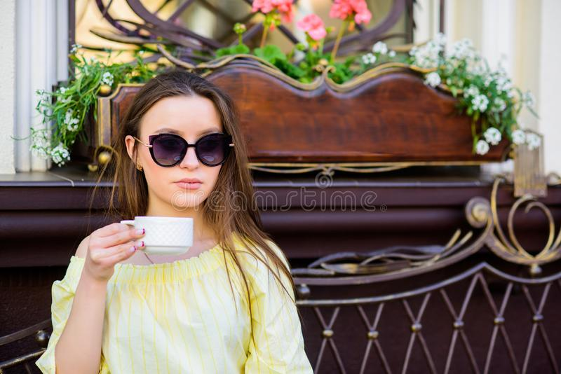Getting warm with fresh coffee. summer fashion. Meeting in cafe. morning coffee. Waiting for date. girl relax in cafe. Business lunch. good morning. Breakfast royalty free stock images