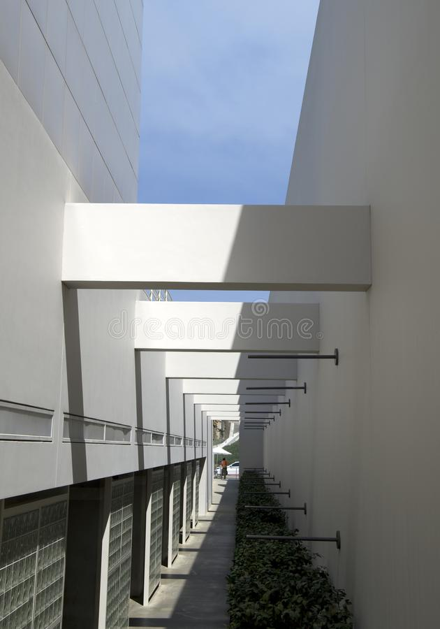 Hall way in Getty Museum Los Angeles stock images