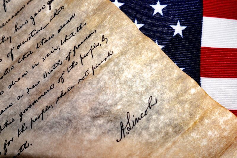 Gettysburg Address speech by U.S. President Abraham Lincoln. Vintage document royalty free stock photography