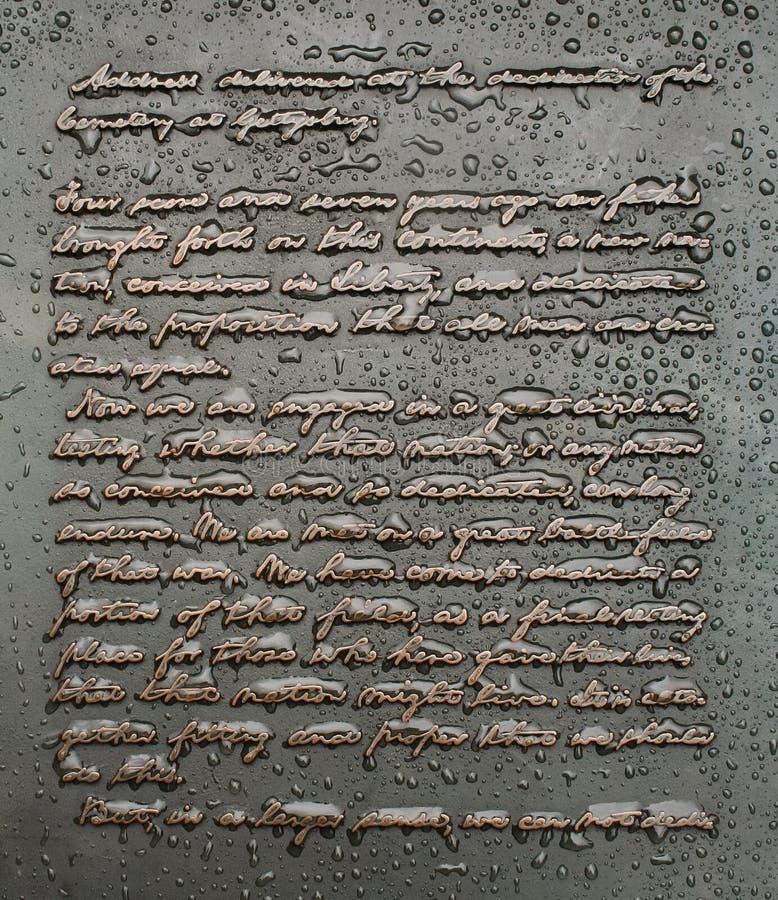Gettysburg adresu zabytku inskrypcja zdjęcia royalty free