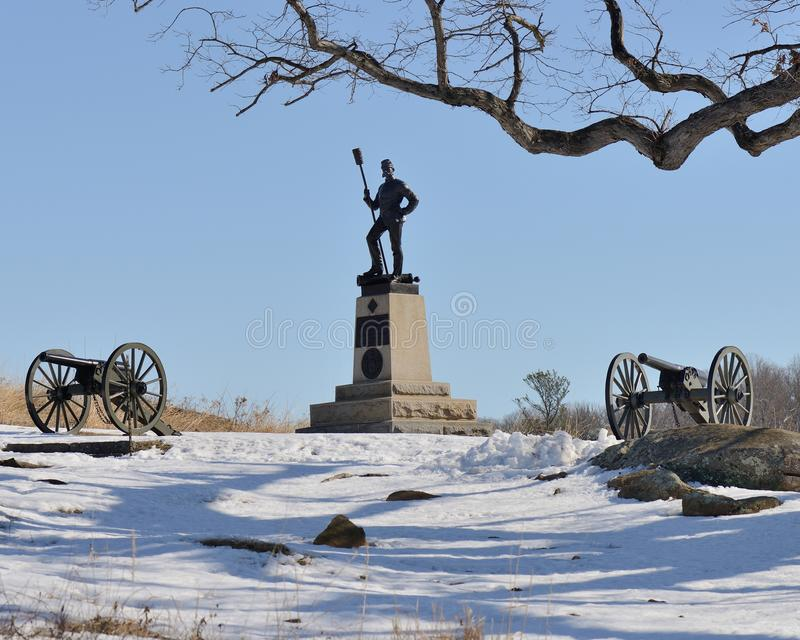 Gettysburg cannon and moument royalty free stock photos
