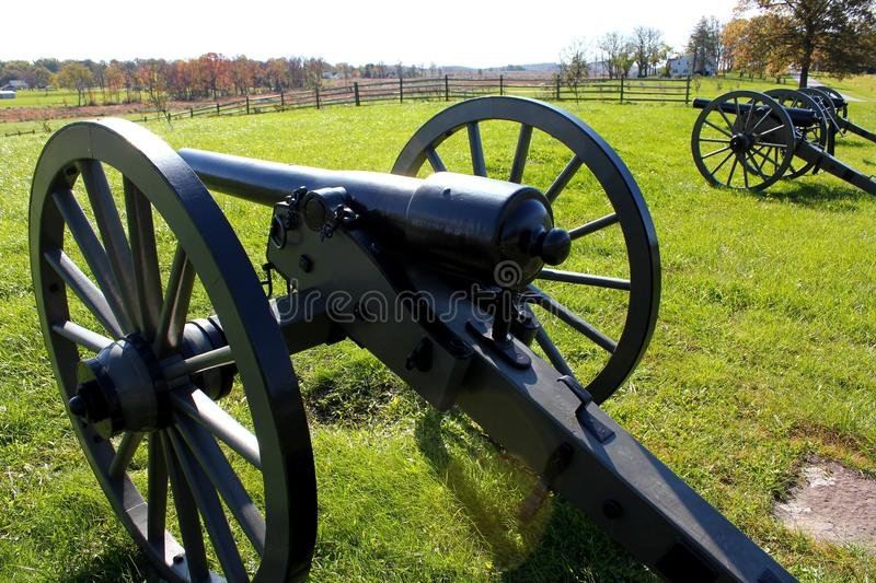 Gettysburg cannons. On a sunny day royalty free stock photos