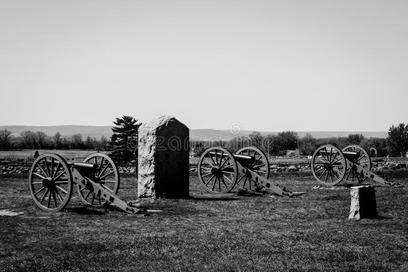 Gettysburg czarny i biały fotografia trzy działa obraz royalty free