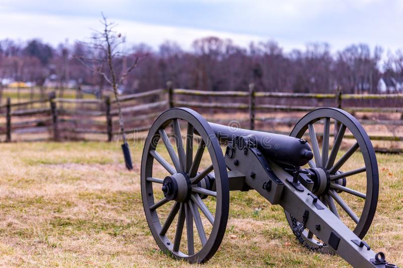 Gettysburg National Park Cannon Still on duty protecting the battlefield royalty free stock photography