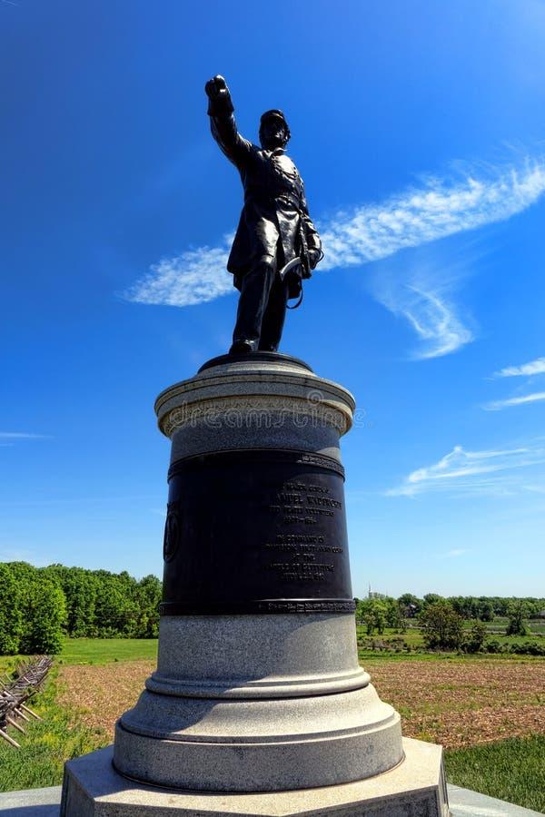 Gettysburg National Park James Samuel Wadsworth Memorial. Gettysburg National Military Park Major General James Samuel Wadsworth in command of the 1st Division royalty free stock image