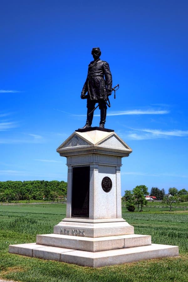 Gettysburg nationalpark Abner Doubleday Memorial fotografering för bildbyråer