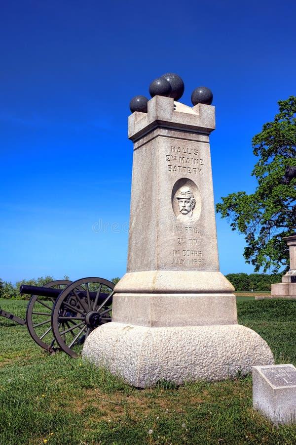 Gettysburg nationalpark 2nd Maine Battery Memorial royaltyfri foto