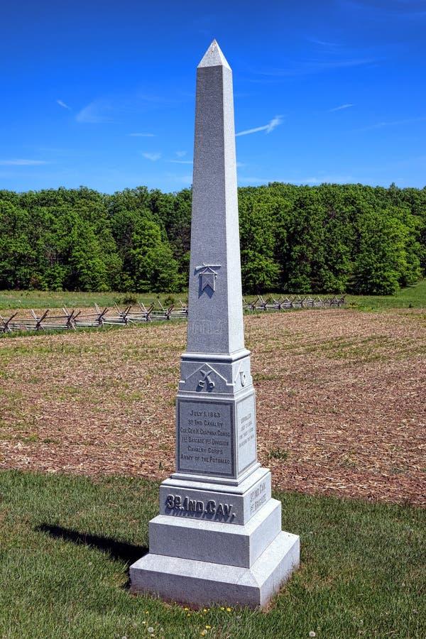 Gettysburg nationalpark 3rd Indiana Cavalry Memorial royaltyfria bilder