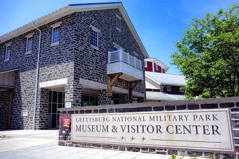 Gettysburg nationalparkmuseum och besökaremitt arkivfoton