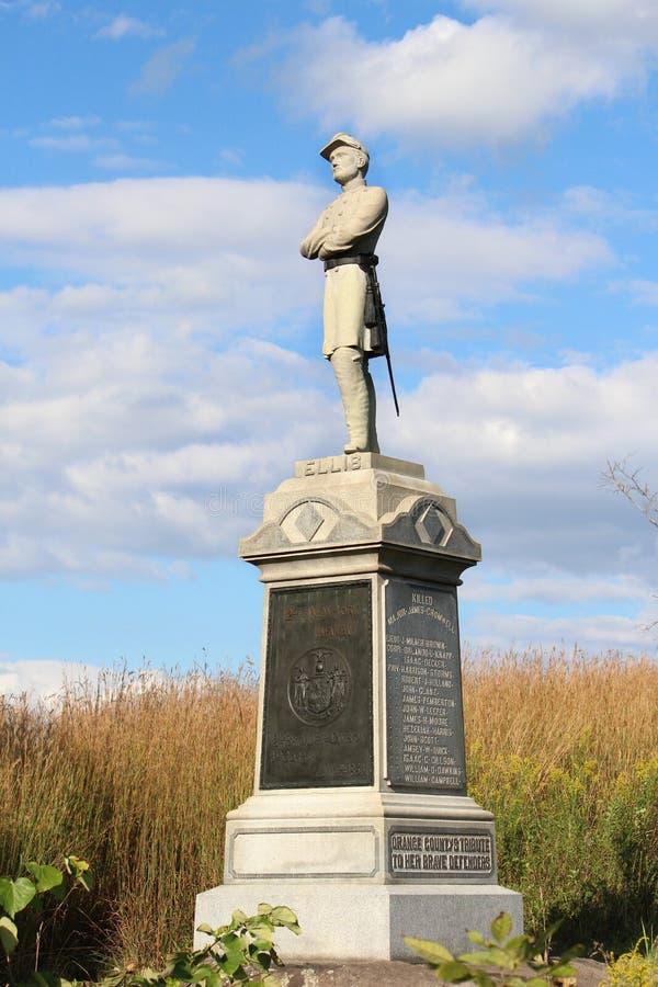 Gettysburg - 124. New York ställa upp som frivillig monumentet för infanteriregementet royaltyfria bilder