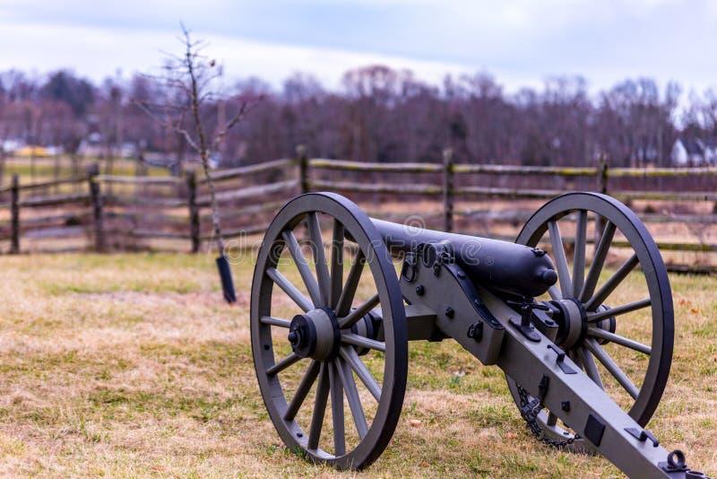 Gettysburg parka narodowego działo Wciąż na obowiązku ochrania pole bitwy fotografia royalty free