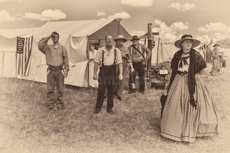 Gettysburg reenactment Union camp stock images