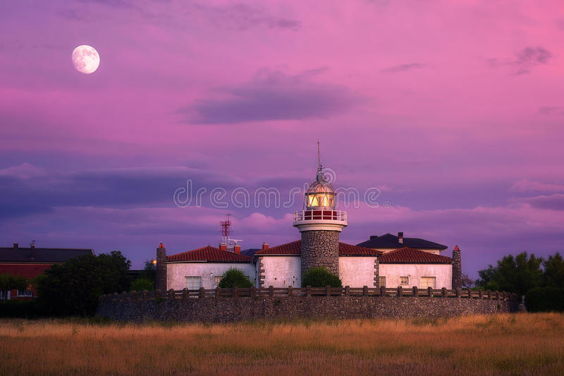 Getxo lighthouse at evening. Getxo lighthouse at the evening stock photo