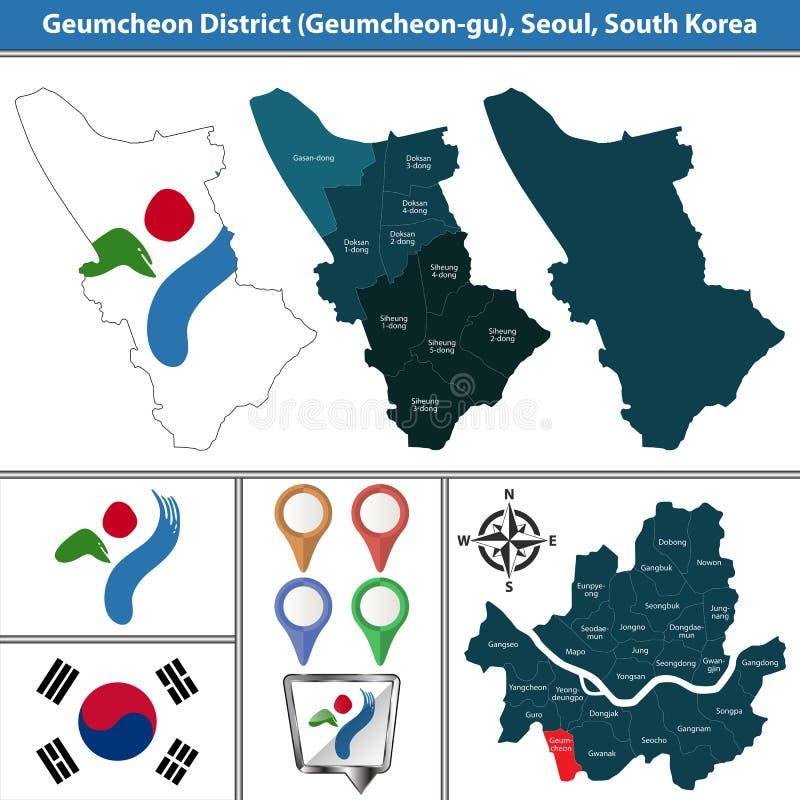 Geumcheondistrict, de Stad van Seoel, Zuid-Korea vector illustratie