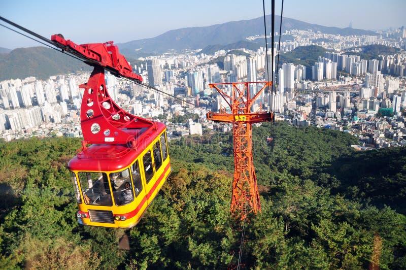 Geumgang Park Ropeway Cable Car, Busan, Coreia do Sul fotografia de stock