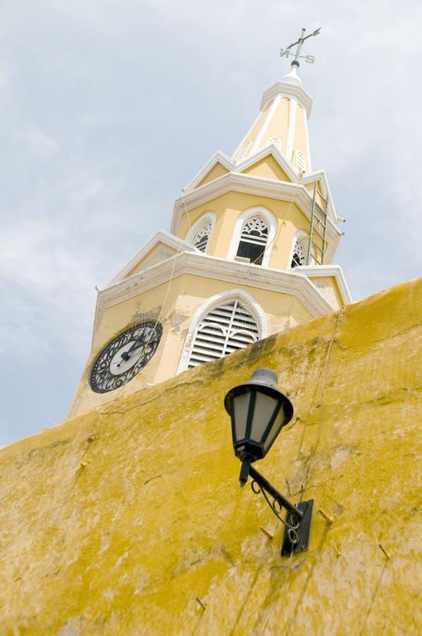 Geummauerte Stadt Cartagena Kolumbien des Glockenturms lizenzfreies stockfoto