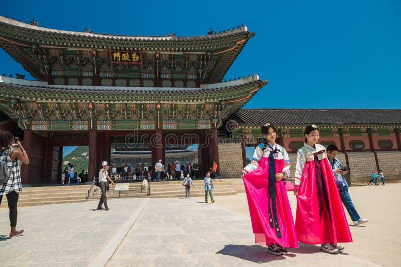 Geunjeongmun门在景福宫宫殿在汉城韩国 库存图片