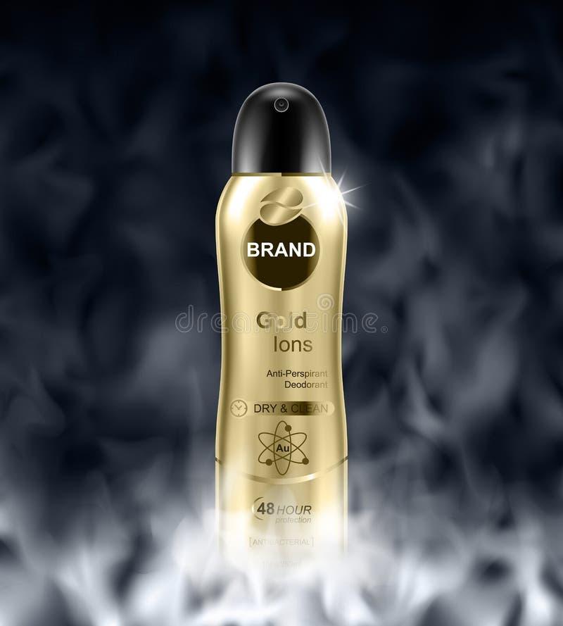 geurbestrijdende fles op donkere mistachtergrond Realistische illustratie royalty-vrije illustratie