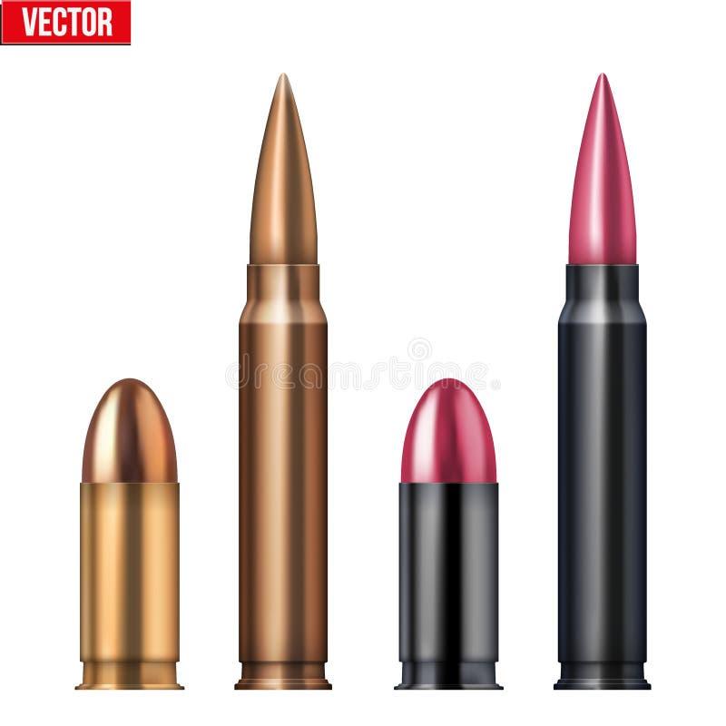 Gevär- och revolverkulor vektor illustrationer