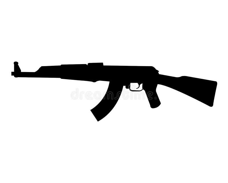 Gevärkontur för AK 47 royaltyfri illustrationer