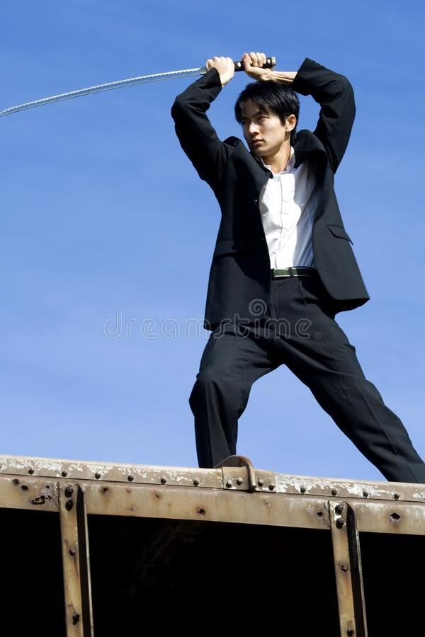 Gevaar op het treindak stock foto