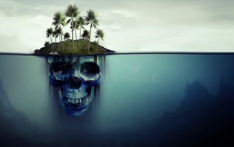 Gevaarlijk eiland met schedel onderaan stock illustratie
