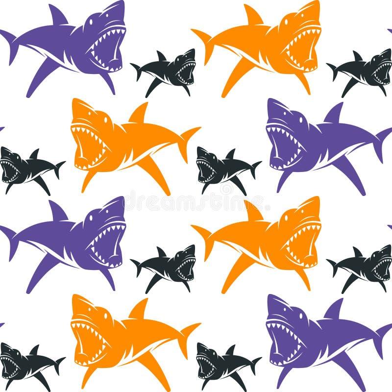 Gevaarlijk haaien naadloos patroon royalty-vrije illustratie
