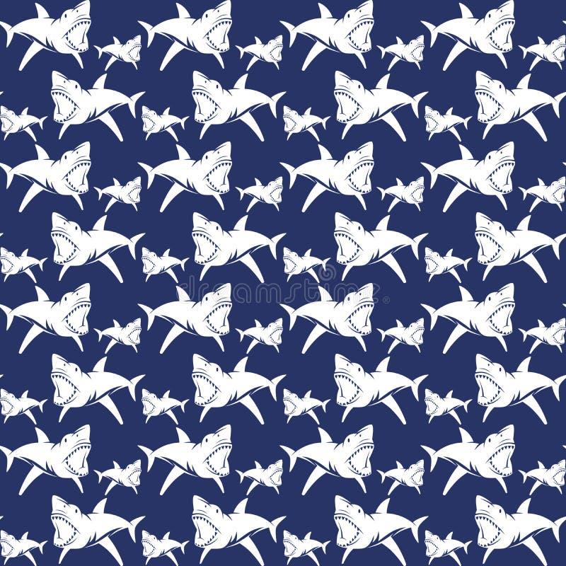 Gevaarlijk haaien naadloos patroon stock illustratie