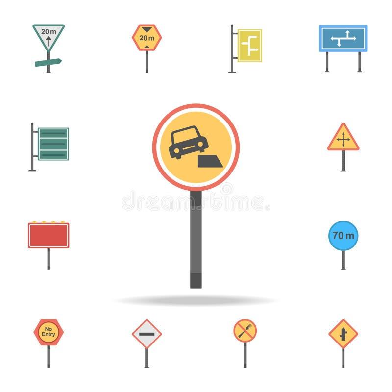 Gevaarlijk kant van de weg gekleurd pictogram Gedetailleerde reeks pictogrammen van kleurenverkeersteken Premie grafisch ontwerp  royalty-vrije illustratie
