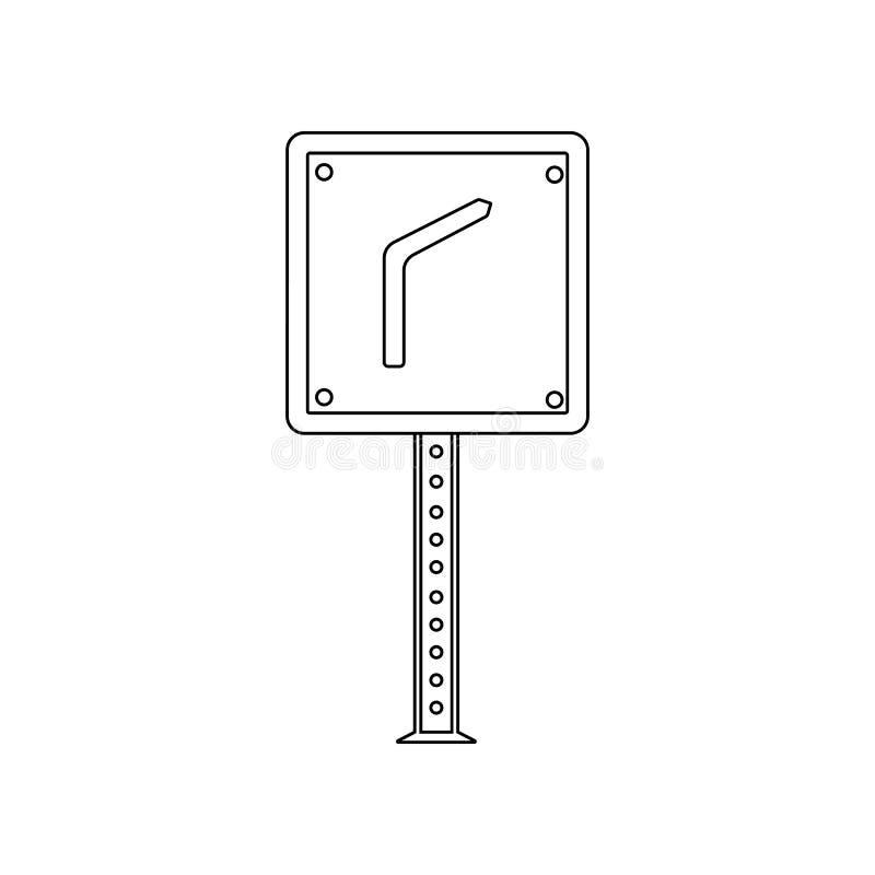Gevaarlijk kromme gekleurd pictogram E Overzicht, dun lijnpictogram royalty-vrije illustratie
