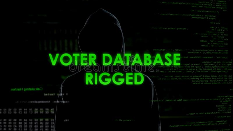 Gevaarlijk spion gemonteerd kiezersgegevensbestand, onjuiste informatie, verkiezingenmislukking stock afbeelding