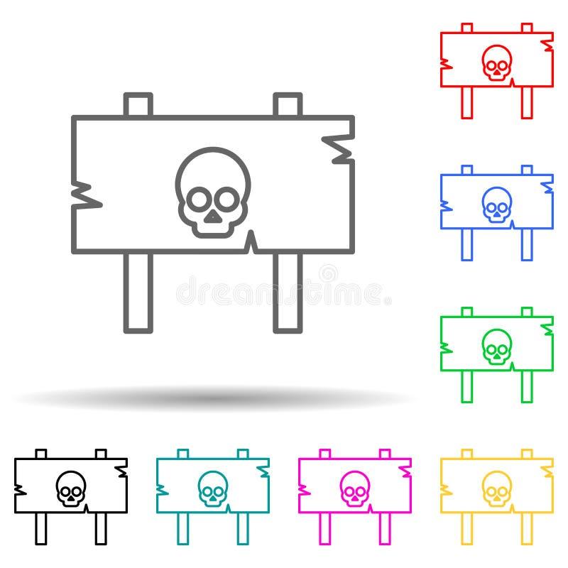Gevaarlijk teken voor het pictogram met meerdere kleuren voor Halloween-thema Eenvoudige dunne lijn, overzicht van halloween pict vector illustratie