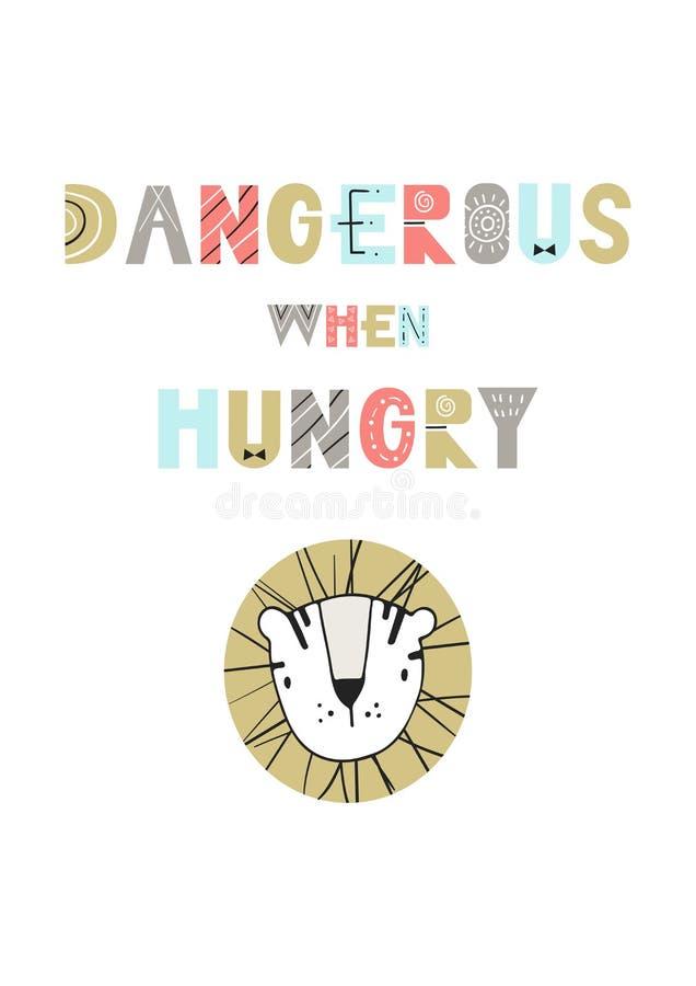 Gevaarlijk wanneer hongerig - de Leuke en affiche van het prethand getrokken kinderdagverblijf met beeldverhaaltijger en het van  vector illustratie