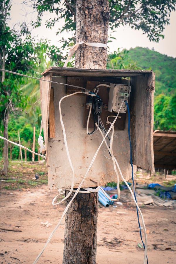 Gevaarlijke elektrische afzet stock afbeelding
