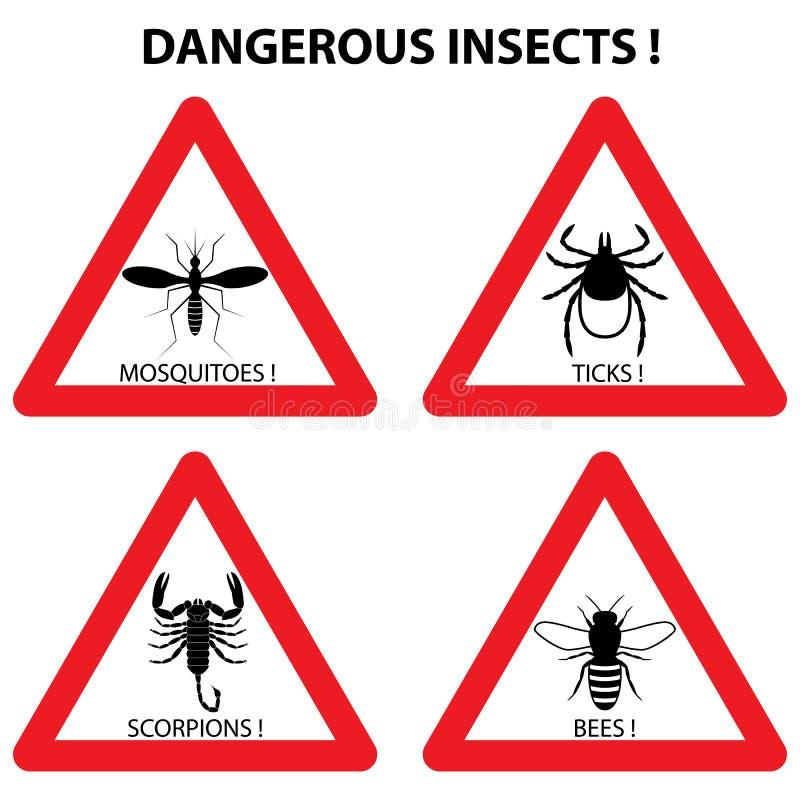 Gevaarlijke insectenwaarschuwingsborden: tikken, muggen, bijen, scorpi stock illustratie