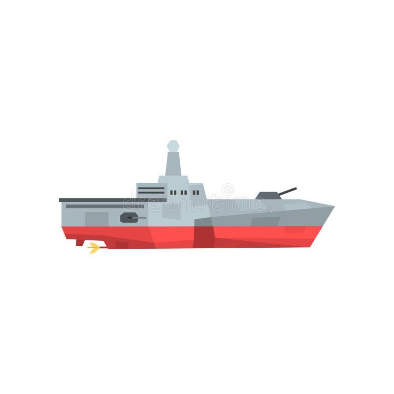Gevaarlijke oorlogsboot met kanon en radar Militair schippictogram Raketkruiser in vlakke stijl Gekleurd vectorontwerp vector illustratie