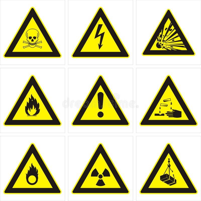 Gevaarlijke waarschuwingsborden royalty-vrije illustratie